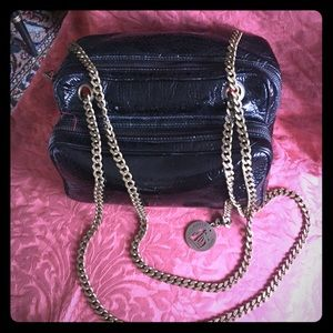💯 Auth LANVIN Black Patent Leather Chain Bag